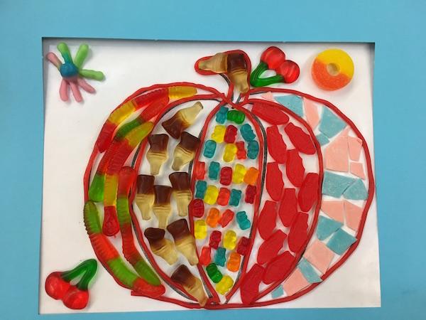 Window Mosaic Pumpkin Candy Collage